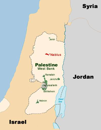 Map showing Nablus
