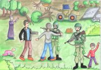 Drawing of soldiers searching children