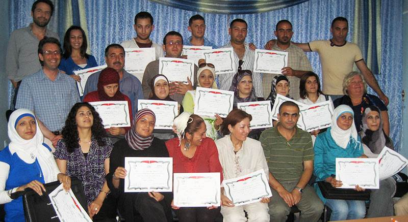 Nablus school counsellors with certificates